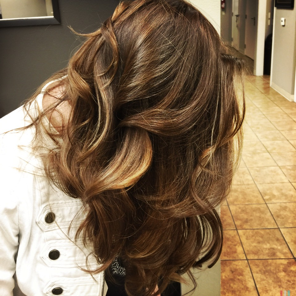 Dark Hair With Bronze Gold Bombre Ombre Balayage Colour Wand Martin Rodriguez